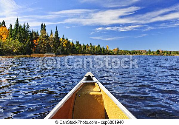 Canoe bow on lake - csp6801940