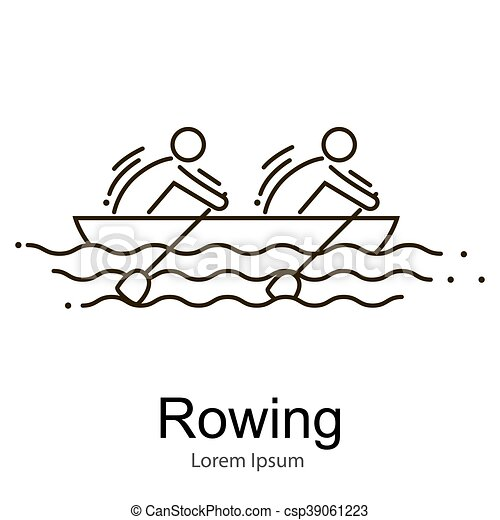 Canoe Rowing Team Icon Set Sporting Competition Race