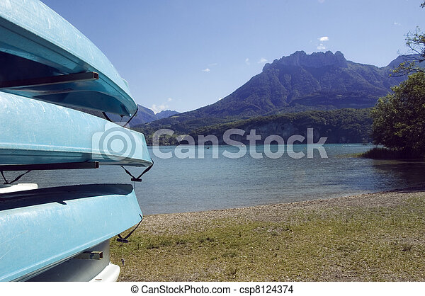 Canoes at lake Annecy - csp8124374