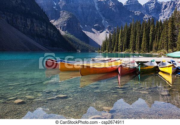 Canoes on Moraine Lake - csp2674911