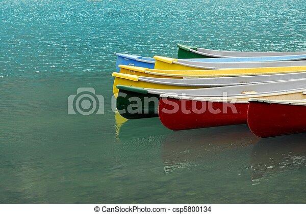 Canoes on Moraine Lake, - csp5800134