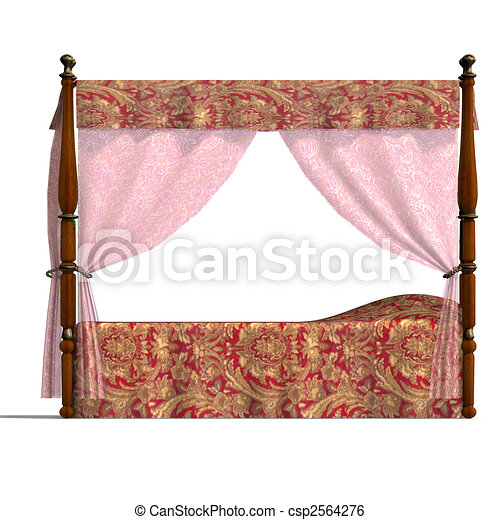 canopy bed of louis XV. - csp2564276