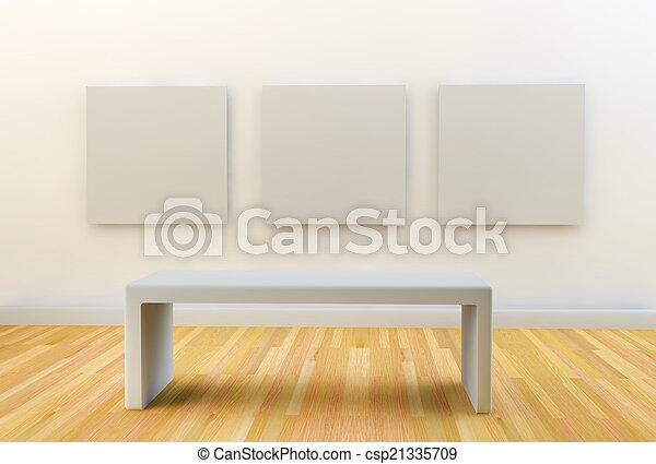 canovacci, parete, vuoto, 3, appendere, bianco, galleria - csp21335709