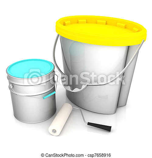 cans of paint - csp7658916