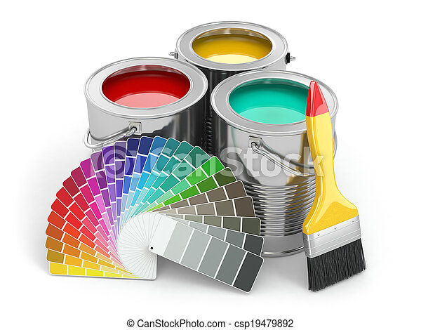 Cans of paint with colour palette and paintbrush. - csp19479892