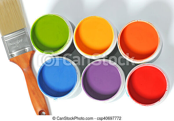 Cans of Paint with Paintbrush - csp40697772