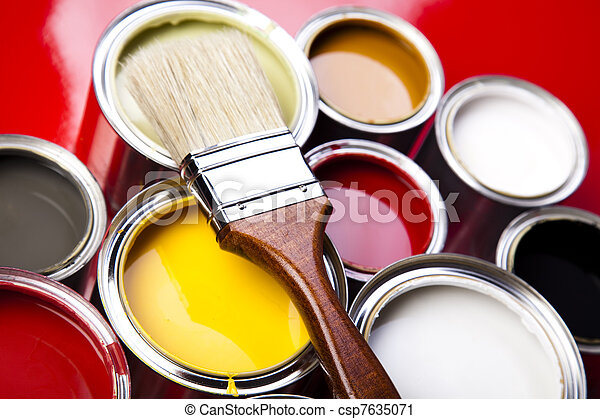 Cans of paint with paintbrush - csp7635071