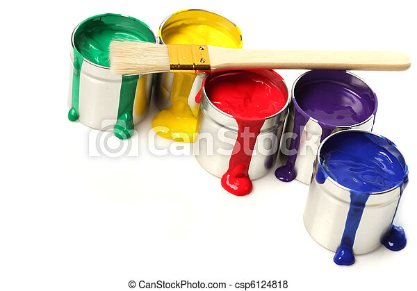 Cans of paint with paintbrush - csp6124818