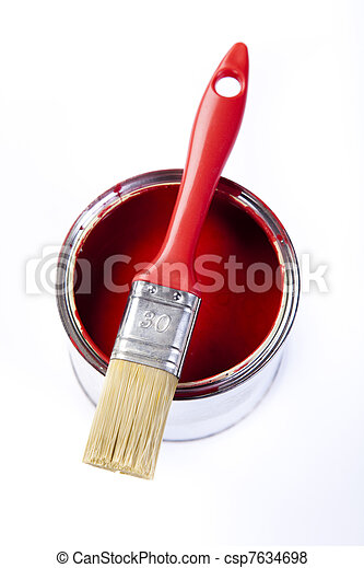 Cans of paint with paintbrush - csp7634698