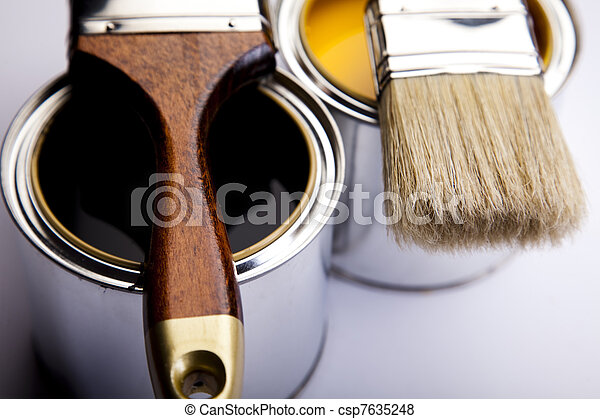 Cans of paint with paintbrush - csp7635248