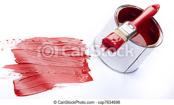 Cans of paint with paintbrush - csp7634696