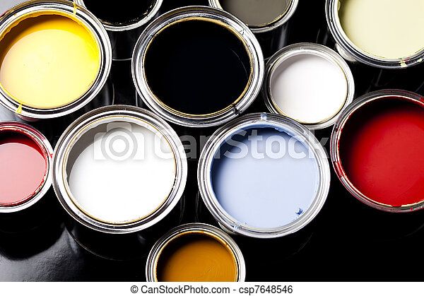Cans of paint with paintbrush - csp7648546