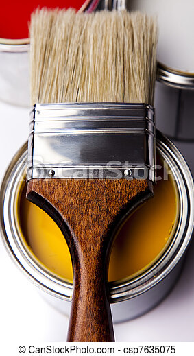Cans of paint with paintbrush - csp7635075