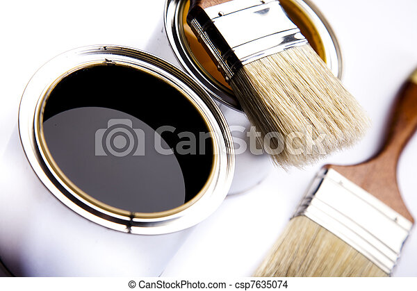 Cans of paint with paintbrush - csp7635074