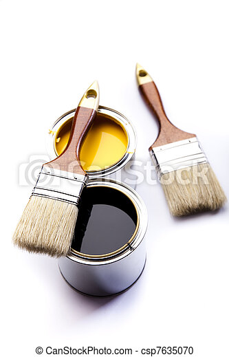 Cans of paint with paintbrush - csp7635070