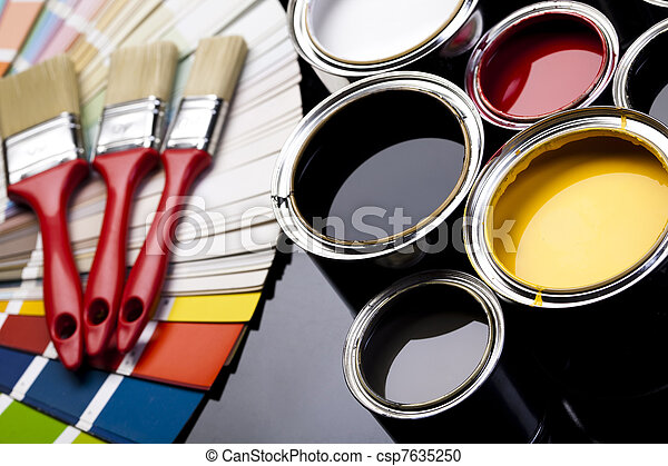 Cans of paint with paintbrush - csp7635250