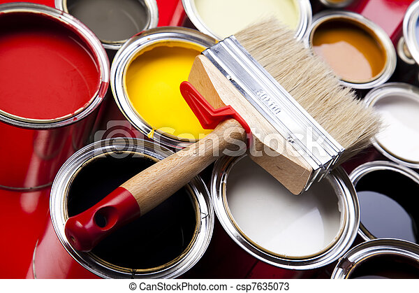 Cans of paint with paintbrush - csp7635073