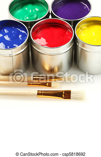 Cans of paint with paintbrushes - csp5818692