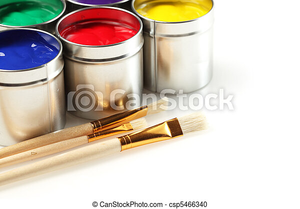 Cans of paint with paintbrushes - csp5466340