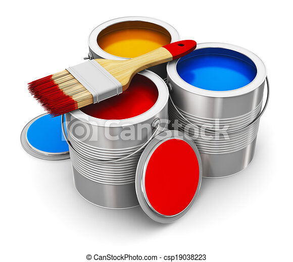 Cans with color paint and paintbrush - csp19038223