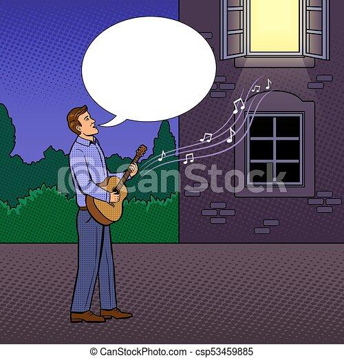 Canta, arte, serenata, ilustração, vetorial, estouro, homem. Canta ...