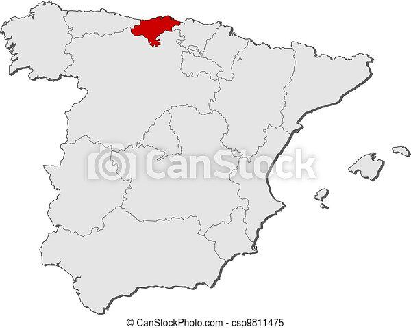 Cartina Spagna Politica Da Stampare.Cantabria Mappa Spagna Evidenziato Mappa Politico Regioni Highlighted Cantabria Parecchi Dove Spagna Canstock