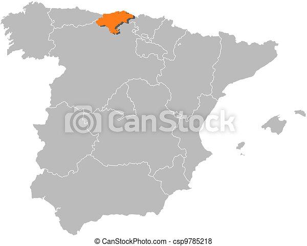 Cartina Spagna Galizia.Cantabria Mappa Spagna Evidenziato Mappa Politico Regioni Highlighted Cantabria Parecchi Dove Spagna Canstock