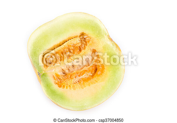Cantaloupe Cut In Half Isolated On White Background Canstock Cantaloupe is perfect for breakfast whether it's in a salad, a smoothie, or on its own. can stock photo