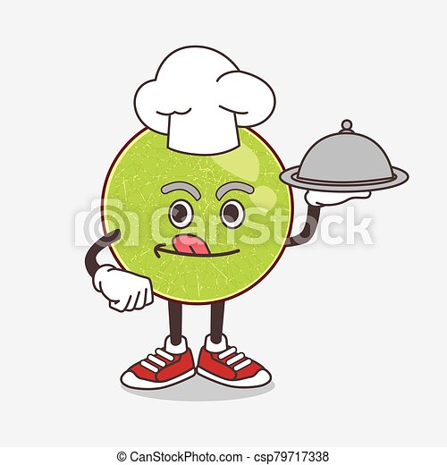 Cantaloupe Melon cartoon mascot character as a Chef with food on tray ready to serve - csp79717338