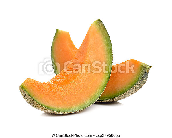 cantaloupe melon isolated on white background - csp27958655