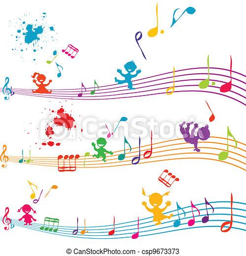 cantando, crianças, aduela, colorido - csp9673373