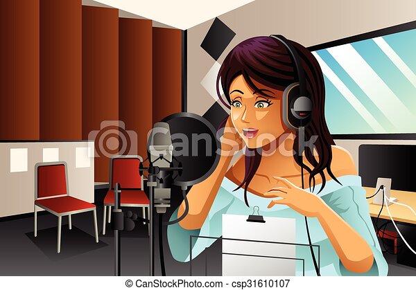 cantante, canto, femmina - csp31610107