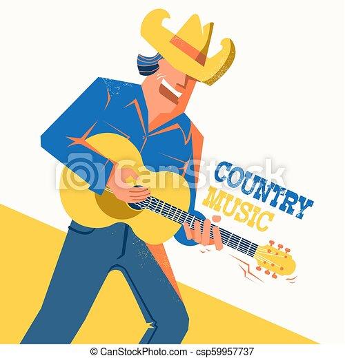 Un póster de conciertos de música country con un cantante con sombrero de vaquero - csp59957737
