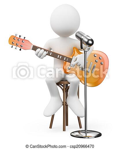 Blancos 3D. Guitarra cantante. Estrella del rock - csp20966470