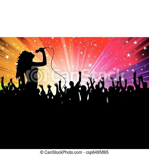 cantante, femmina, folla - csp6495865