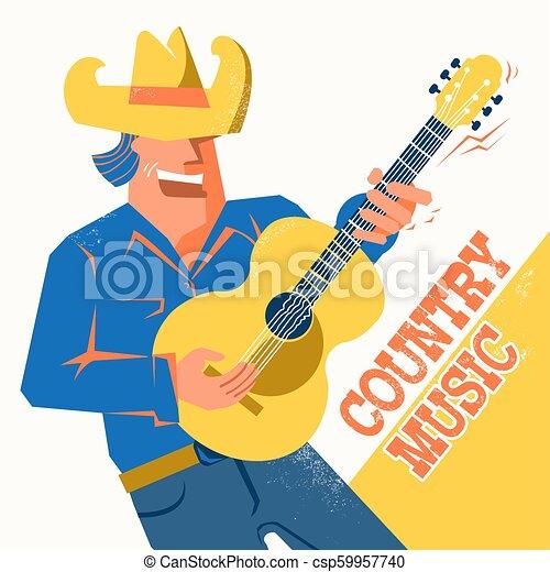 Un póster de conciertos de música country con un cantante con sombrero de vaquero tocando la guitarra - csp59957740