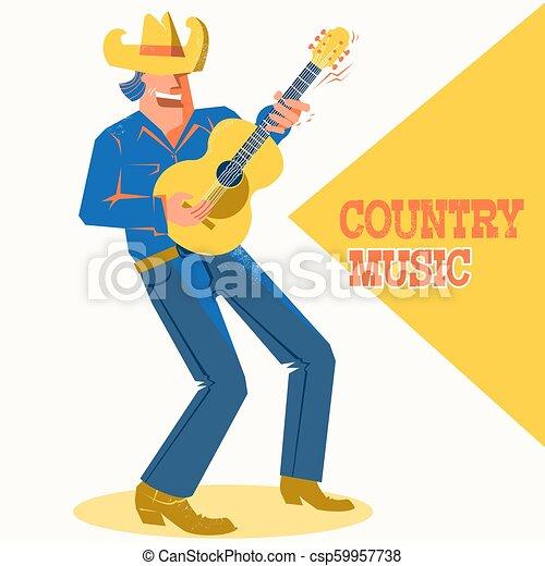 Cantante musical con sombrero de vaquero tocando la guitarra. El póster del concierto de música country - csp59957738