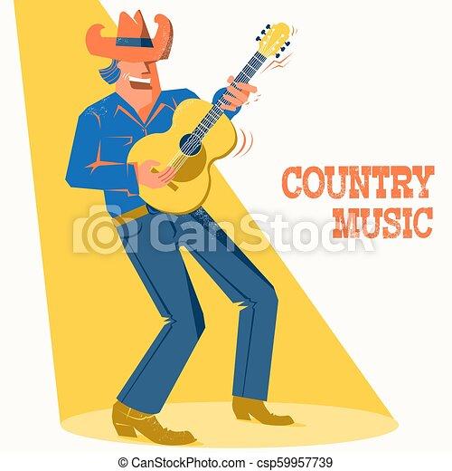 Cantante musical con sombrero de vaquero tocando la guitarra. El póster del festival de música country - csp59957739