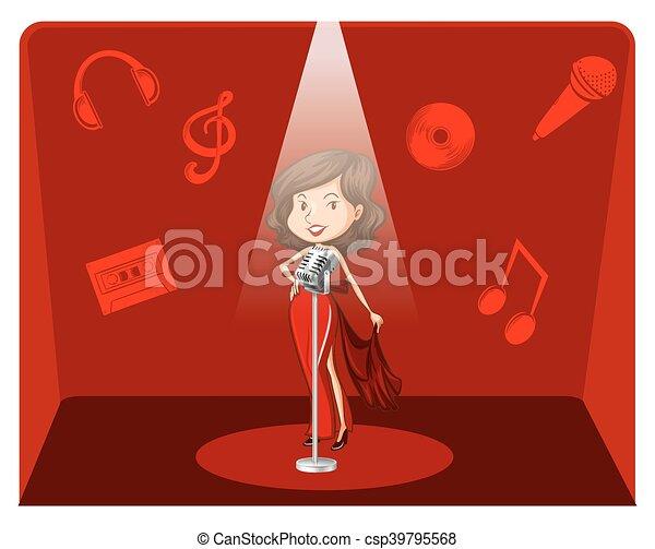 cantante, sfondo rosso, femmina - csp39795568