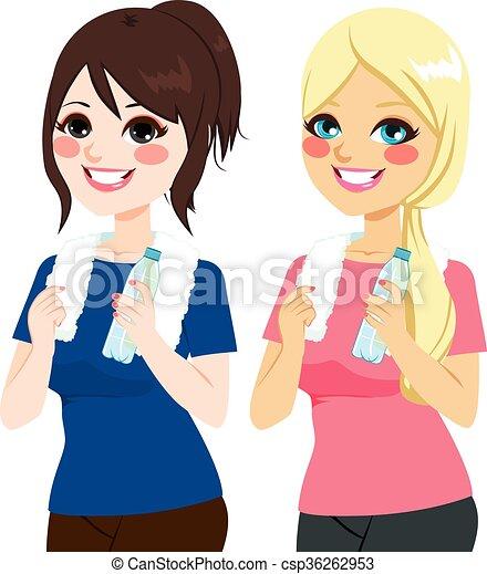 Mujeres con botella de agua - csp36262953