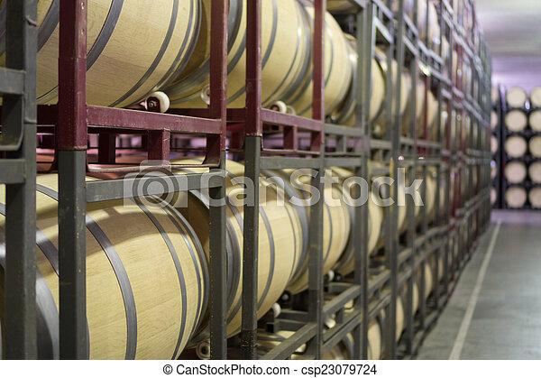 cantina, barili, grande, matrice, vino, vista laterale - csp23079724