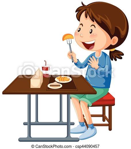 cantine d ner girl manger table manger illustration. Black Bedroom Furniture Sets. Home Design Ideas