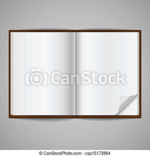 canto, dobrar, livro, abertos, em branco - csp15172864