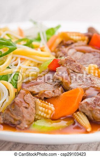 Cantonese Beef with Noodles - csp29103423