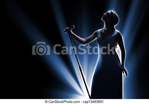 cantor, femininas, fase - csp13493691