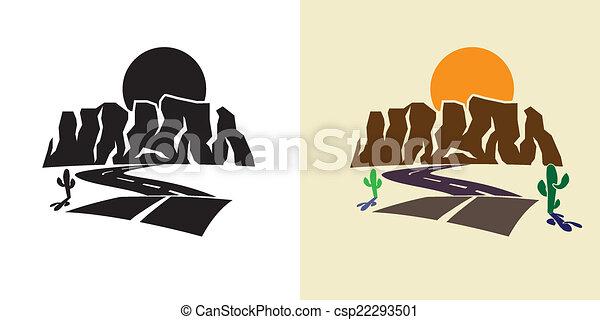 canyon and sunset - csp22293501