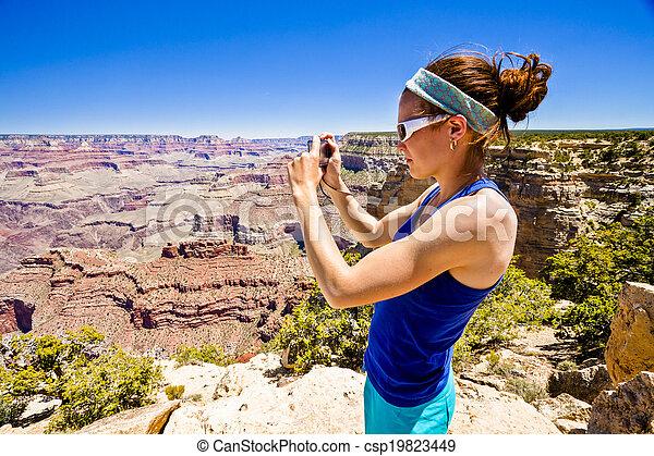 canyon, donna, fotografare, grande - csp19823449