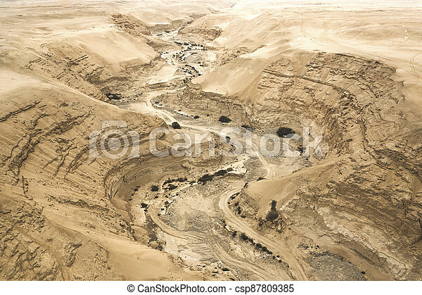 Canyon, dry river top view. Aerial view - csp87809385
