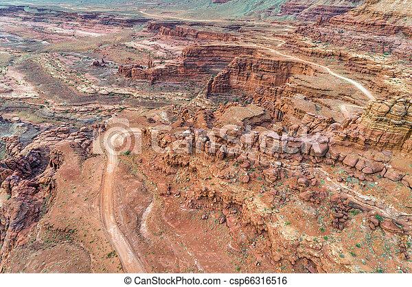 canyon road in Utah - aerial view - csp66316516
