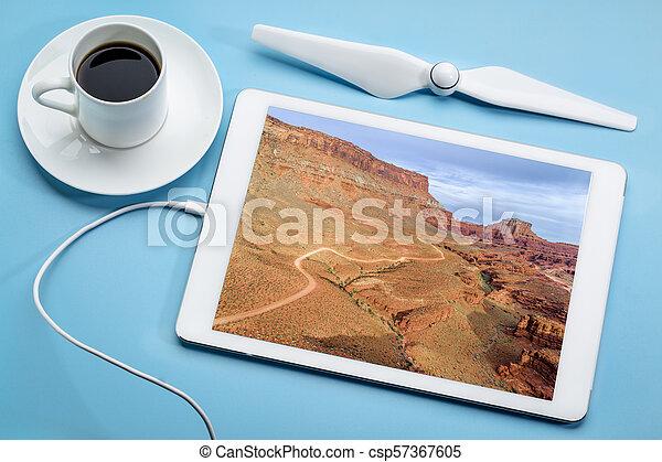 canyon road in Utah - aerial view - csp57367605